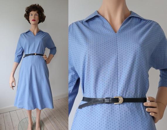 Lovely Light Blue 60s Vintage Dress // Cotton With