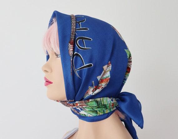Blue Vtg. Souvenir Scarf // Bonjour Paris // Made… - image 10