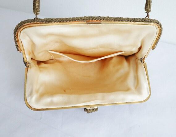 60s Golden Beaded Vintage Bag With Golden Closure… - image 3