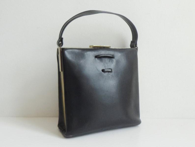 Black 40s Vintage Top Handle Bag With Gold Closure