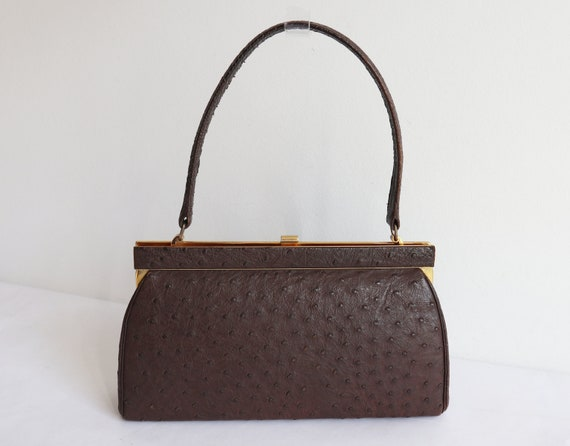 Brown 60s Vtg. Ostrich Top Handle/Shoulder Bag Wit
