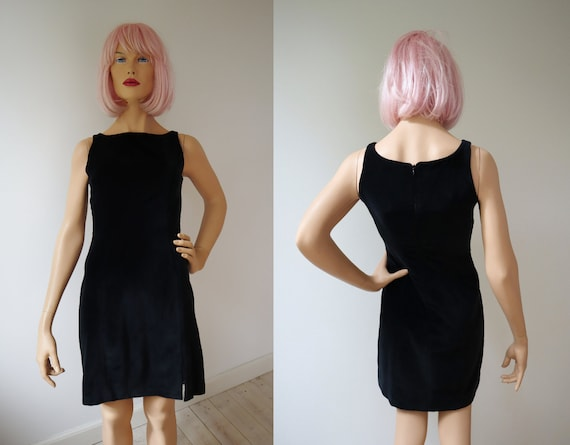 Black 80s Velvet Dress // Claude Zana Paris // Siz