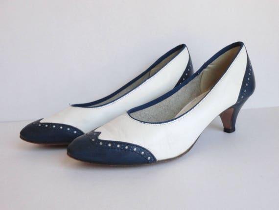 Blue/White 60s Vintage Leather Shoes // Sparta Sho