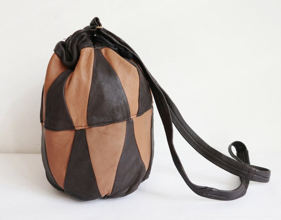 Brown/Beige 70s 80s Vintage Tote Bag // Leather Pa