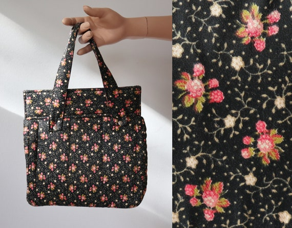 Black 60s Vintage Toiletbag With Pink White Floral