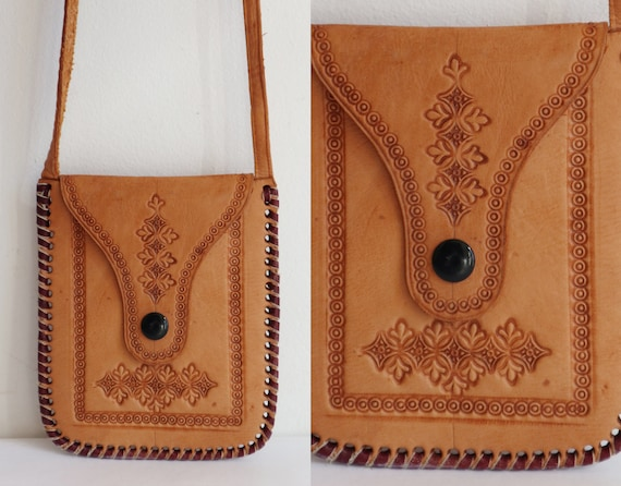 70s Tooled Tan Leather Bag/Wallet