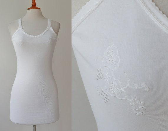 40s Rayon White Lingerie Top With Flower/Grape Sti