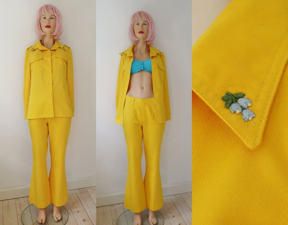 Yellow 70s Vintage Suit // Shirt/Jacket & Flared P