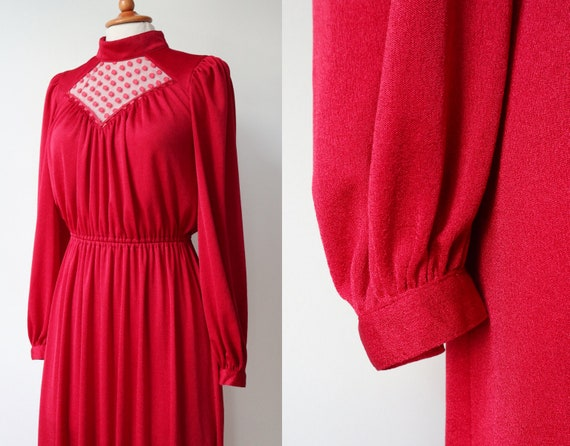 Lovely Red 70s Vintage Maxi Dress // High Neck //… - image 5