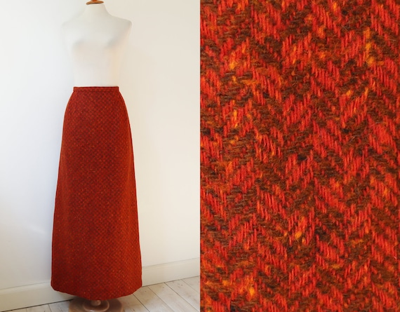 Orange Brown Tweed High Waisted Vtg. Maxi Skirt //