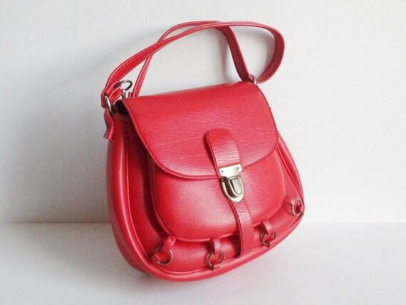 Cute Red 60s Vintage Vegan Shoulder Bag