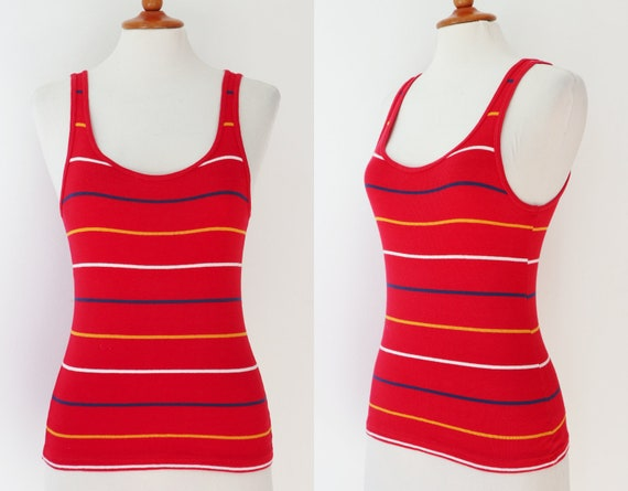 Red Fitted 70s Tanktop With Blue Yellow White Stri