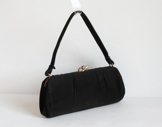 Black 50s60s Vegan Vtg Hand Bag/Party Bag With Gol