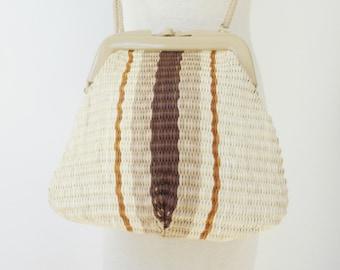 70s Vtg. Bast Shoulder Bag With Cord Strap // Summer Bag // Ivory Sand Brown // Vegan Bag