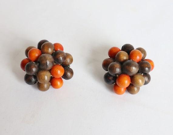 60s Brown/Orange Ear Clips // Wood