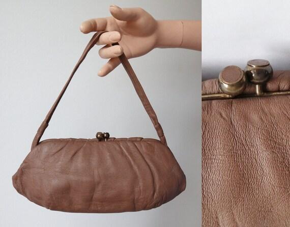 Beige 60s Vintage Leather Top Handle Bag // Golden