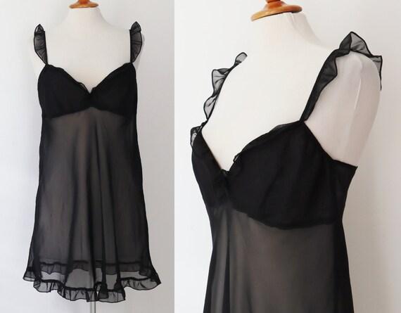 Black 80s Slip Dress With Ruffles // Sheer Slip Dr