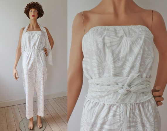 White 80s DEADSTOCK Jumpsuit With Scarf/Belt // Do
