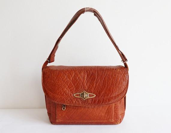 50s Vintage Leather Shoulder/Top Handle Bag // Bro