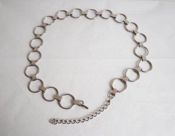 70s 80s Metal Chain Belt // Silver