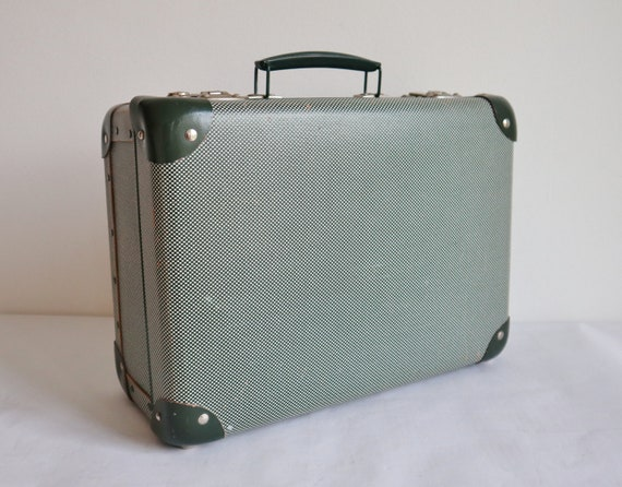 Lovely Green White  60s Vintage Suitcase/Top Handl
