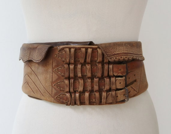Handmade 30s Brown Vintage Leather Belt With Walle