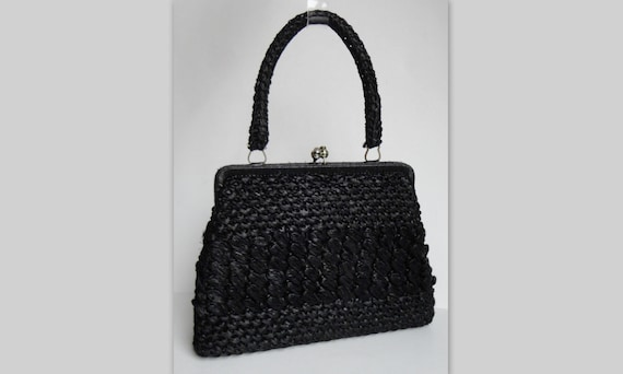 Black 60s Wowen Raffia Vintage Top Handle Bag // M