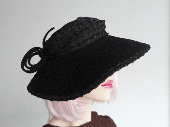 Unique Black 30s Hat With Quirky Ornaments