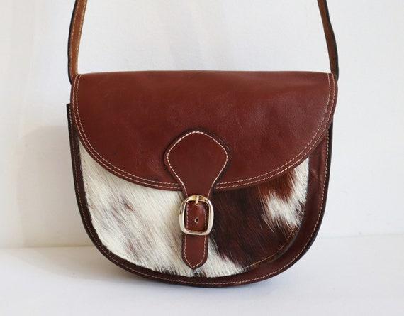 Brown Vtg. Vegan Shoulder/Crossbody Bag With Fur