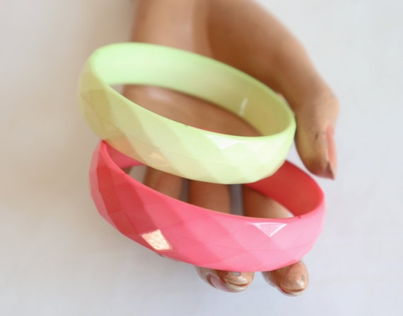 2 Bracelets // Yellow Pink // Squares