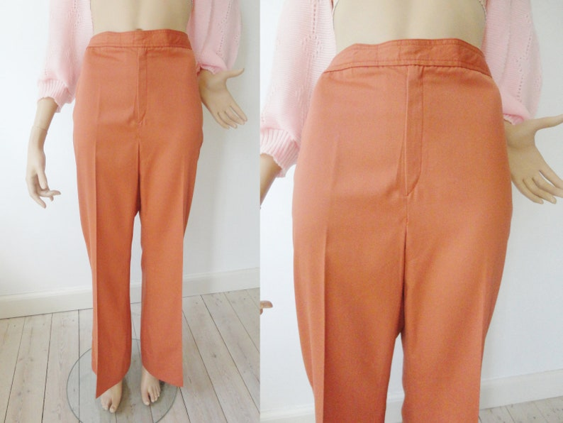 Cool 70s Highwaisted CoralSalmon Colored Vintage Flare Pants  Size M
