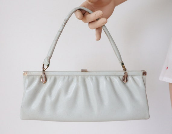 Bluegray 60s Vintage Top Handle Bag With Golden Cl