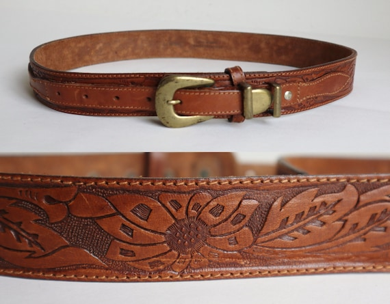 Brown Vintage Leather Belt // Brass Buckle // Tool