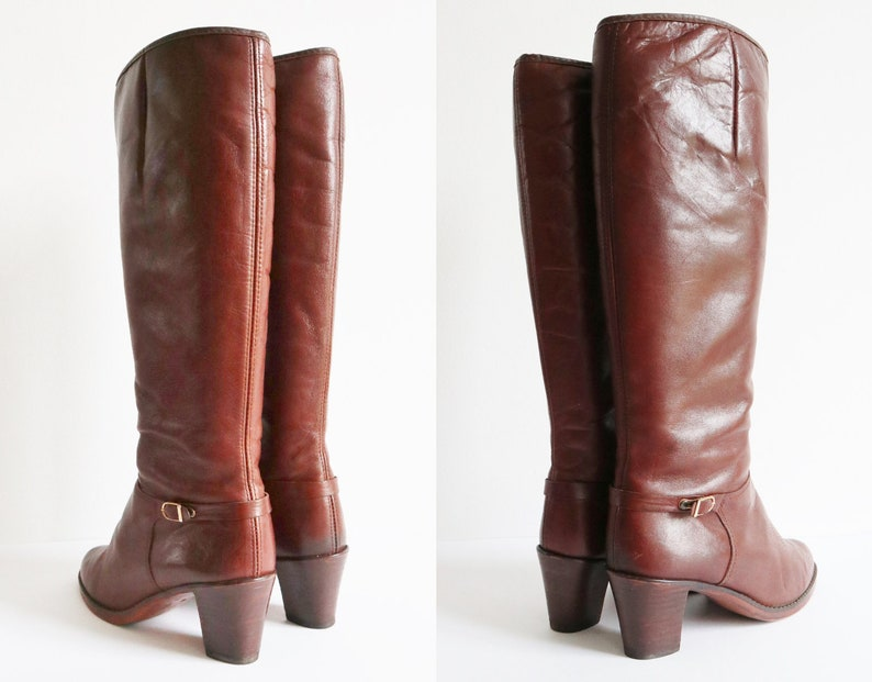 0465a126ae380 Brown 70s Vintage Leather Boots // Lined // Golden Buckle // Size 39