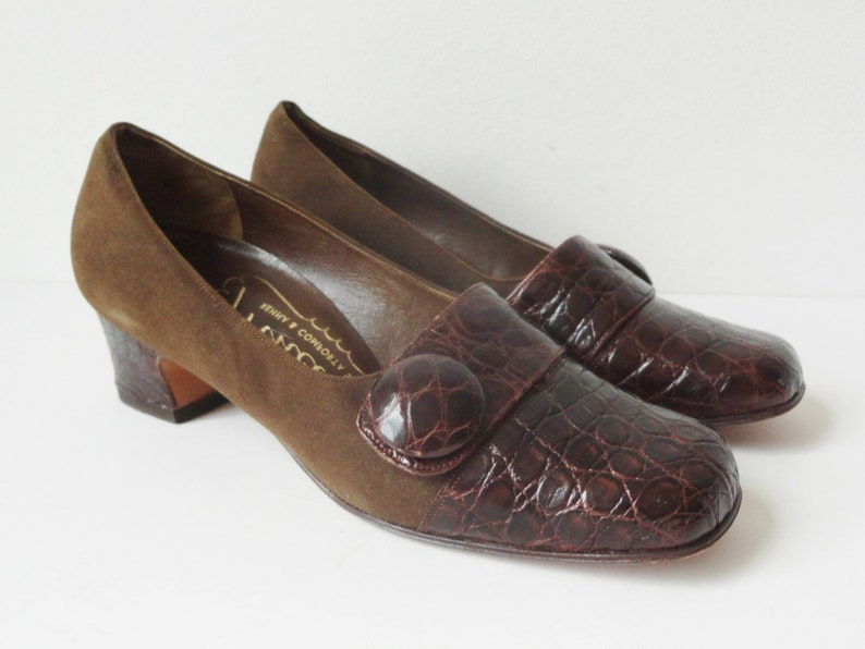 6e8db216c5825 Brown 60s Suede/Leather Vintage Shoes With Kroko Print & Big Button //  Princess Of Copenhagen // Size EU 37,5 // Made In Denmark