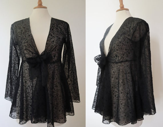 Sheer Black 80s Sheer Vtg. Top With Velvet Pattern