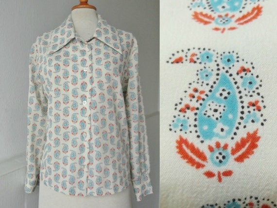 Ivory Vintage Lady Shirt // Blue Red Print // Big
