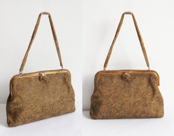 60s Golden Beaded Vintage Bag With Golden Closure… - image 2