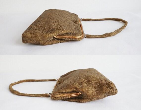 60s Golden Beaded Vintage Bag With Golden Closure… - image 8