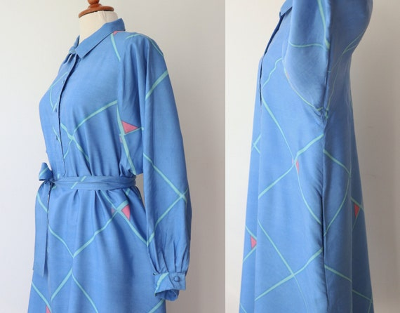 Blue 60s 70s Shirt Dress With Beautiful Print In … - image 6