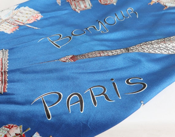 Blue Vtg. Souvenir Scarf // Bonjour Paris // Made… - image 5