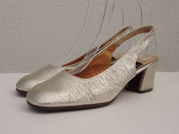 on wholesale 100% high quality 100% high quality 60s Vintage Gold Pumps // Gabor // Slingback // Made In Germany // Size 37