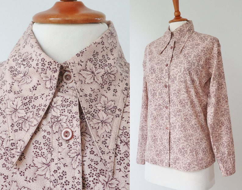 Pale PinkBrown 70s Vintage Lady Shirt With Leaves  Big Collar  Made In Denmark