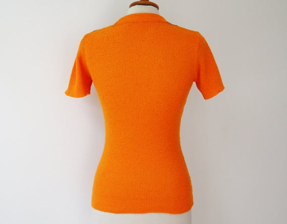 Orange 60s Slim Fit Blouse // Fitted Top With Bro… - image 3