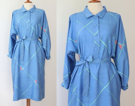 Blue 60s 70s Shirt Dress With Beautiful Print In … - image 1
