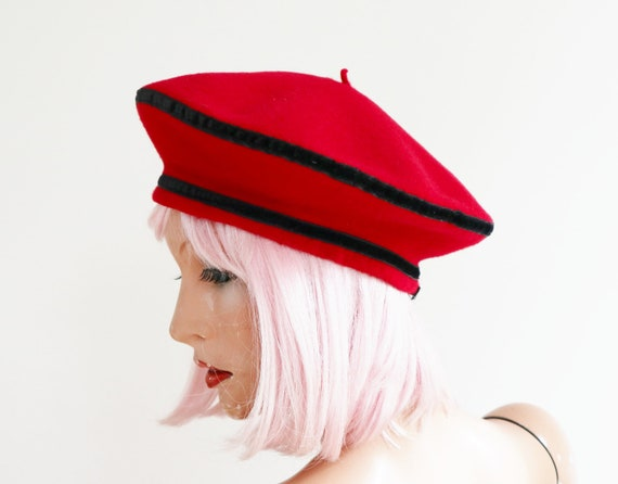 Red Beret Hat With Black Ribbon // Pierre Lauljère