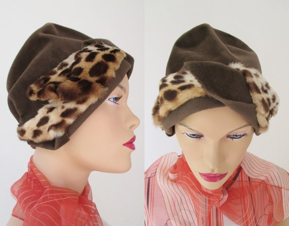 Brown 40s Felt Hat With Leopard Printed Inserts //
