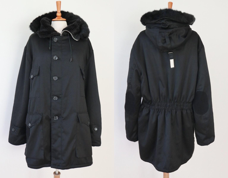 Incroyable homme noir des années Parka 70 à capuche coton Vintage Parka années  manteau avec doublure 6d37194fee8