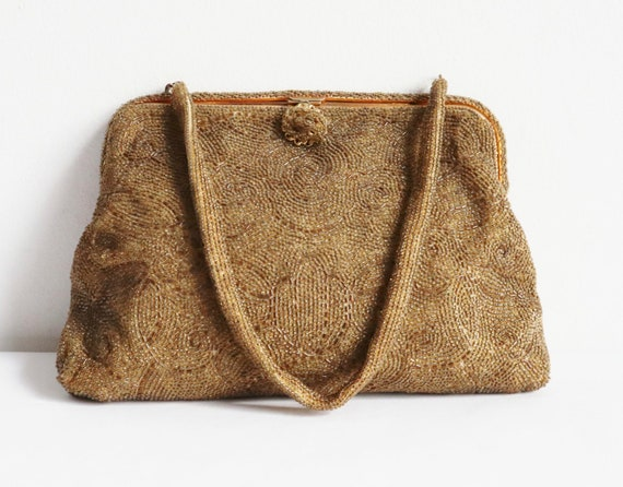 60s Golden Beaded Vintage Bag With Golden Closure… - image 4