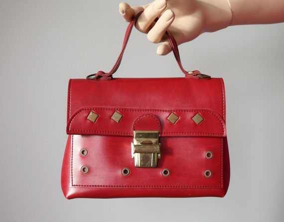 Cute Red 60s Vintage Vegan Top Handle Bag With Gol